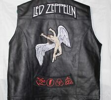 Mens LED ZEPPLIN Custom Leather Biker Motorcycle Vest Concealed Carry