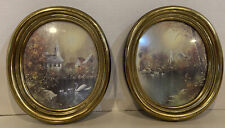 Vintage Homco Home Interior Gold Oval Frame Pictures Church Lake Swans F. Massa