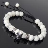 Men's Women Braided Bracelet White Howlite Sterling Silver Skull DIY-KAREN 814