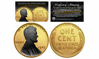 24K GOLD Clad 1943 Steel Wartime Wheat Penny Coin w/ BLACK RUTHENIUM Highlights