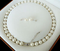 Natural 8mm White Akoya Cultured Shell Pearl Necklace Earring Set 18'' AAA