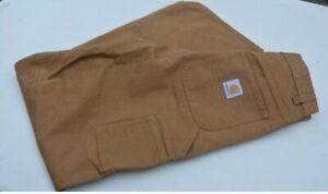 NEW Carhartt Brown Carpenter Work Pants Soft Canvas Denim Men Size 32X32
