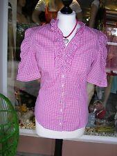 Almsach, Trachtenbluse, Bluse, kariert, pink/weiß, Gr. 36, Rüschen