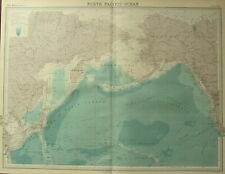 1922 LARGE ANTIQUE MAP ~ NORTH PACIFIC OCEAN ~ ALASKA SIBERIA STEAMER ROUTES