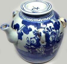 Lg Antique 19thC Blue + White Ming Style Porcelain Teapot Musicians Dancers Park