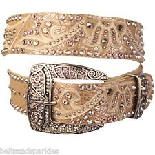 Kippys Kippy Swarovski Crystal Leather Belt 34 L New