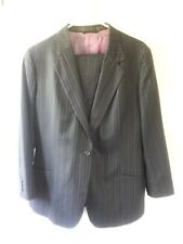Holland and Sherry Black Pinstripe Suit 100% Wool Made in USA
