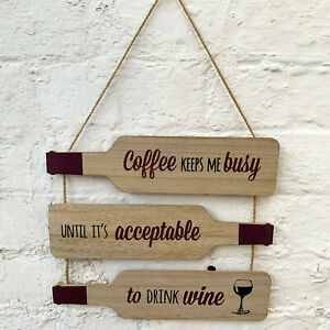 3 Tier Wine Bottle Quote Wood Wall Hanging Novelty Decorative Sign Plaque Gift B