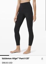 "Lululemon Align Pants 25"" HIGH RISE BLACK Nulux Fabric Size 4 NWT!!! Deal!"