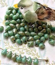 Tear Drop Beads,Glass Drops, 4x6mm Drops,Turquoise w/Silverish Picasso #740C