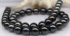 """18""""11-12MM TAHITIAN GENUINE BLACK  PEARL NECKLACE ROUND AAA"""