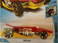 Hot Wheels 2019 HW Street Beasts RED / YELLOW CROC ROD 7/10 Race Car Toy 170/250