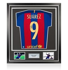 Enmarcado Luis Suarez firmado Barcelona Camisa 2016-2017 - Ventilador estilo números Premium