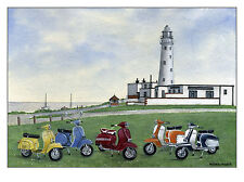 The Italian Job - Visits Flamborough - Scooter, Vespa, Lambretta Print