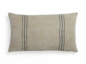 Arhaus French Linen Pillow Case Natural Tan Blue Stripe Soft Washed 15x25 Lumbar