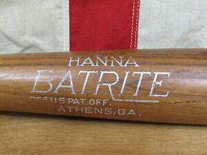 "Vintage 1950s Hanna Batrite Wood Baseball Bat No.HF Ryan Style 35"" Athens,GA."