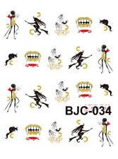 Nail art stickers décalcomanie: Déco Halloween dents de vampire mains squelette