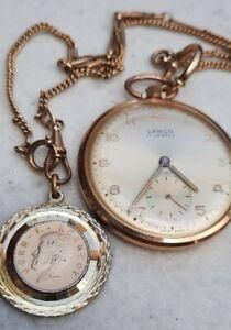 Taschenuhr Lanco 17 Jewels Swiss made mit Uhrenkette und Anhänger JF Kennedy