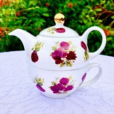 Arthur Wood and Son Stacked Teapot with Red Roses 6460