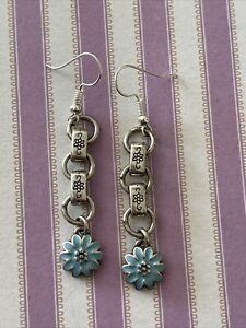 "Brighton ORCHARD Flower Blue Flowers Garden Custom Silver Earrings 2"""