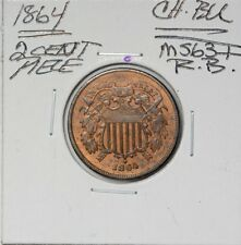 1864 Two 2 Cent Piece Choice BU Red Brown RB