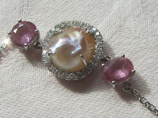 Natural pink sapphire/1k+ each/natural pearl, 18k white gold chain, BRACELET