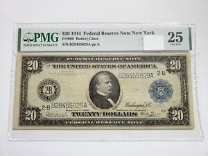 1914 $20 Federal Reserve Note FRN New York FR# 969 PMG 25