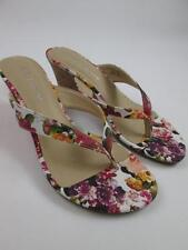 CL BY LAUNDRY WOMENS TAMMY FLORAL TAN BEACH WEDGE THONG STRAP SANDALS 7.5/38 NEW