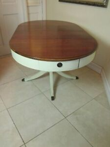 Vintage Solid Wood Oak Oval Dining Table Claw feet With Extendable Leaf Beige