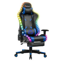 Gaming Chair Recliner Racing Chair w/RGB LED Lights &Massage Lumbar Support Blue