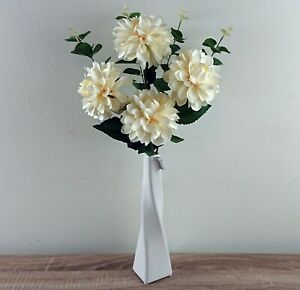 Artificial Ivory Flowers with Greenery Arrangement with Vase