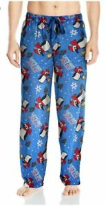 Mens Fruit of the Loom Pajama Pants Holiday Party Penguins 2X