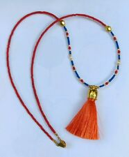 Afghan Natural Lapis, Coral, Pearl & Fabric Tassel Tiny Seed Beads Necklace Boho