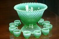 Fenton Green Opalescent Hobnail Punch Bowl Base 12 Cups w/ Holders - GLOWS