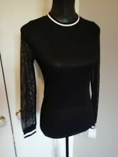 Ivory Love Ladies Net Top Black Stylish LS Size 8/10 BNWT