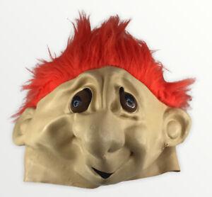 Rare Original 1990s Russ Troll Halloween Mask Adult Size Orange Hair