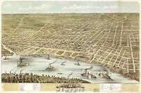 Map Memphis Tennessee 1870 Vintage Picture Canvas Art Print