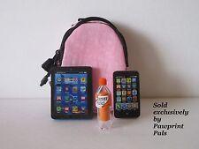 Adjustable PINK BACKPACK + Smart Phone + Tablet + Pop Bottle fits American Girl
