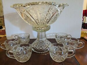EAPG Indiana Glass Paneled Daisy & Finecut Punch Bowl, Base, & 6 Cups