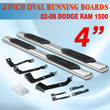 "FOR 02-08 Dodge Ram 1500 Quad Cab 4"" Running Board Side Step Nerf Bar Oval S/S"
