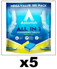 500 x Astonish All In 1 Dishwasher Tablets (5 x 100pk) Fresh Lemon Scent Tough