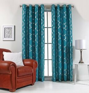 """Lafayette 56"""" X 84"""" Faux Silk Window Curtain with Metallic Print by Stylemaster®"""