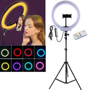 10'' RGB LED Ring Licht Handyhalter Kit Selfie Lampe mit Fernbedienung + Stativ