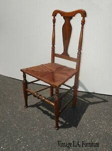 Antique George Gaines Style Chippendale French Country Brown Rush Accent Chair