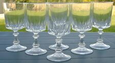 Service de 6 verres à vin blanc en cristal d'Arques. Modèle Louvre