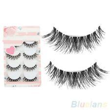 5 Pairs100%Black Mink Cross Natural False Fake Eyelashes Makeup Extension