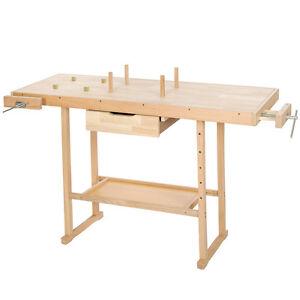 Holzwerkbank mit Schraubstock Holz Arbeitstisch Handwerkstisch Hobelbank