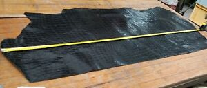 Black Reptile Pattern Hide Leather 1.0mm Thick LOT 2114 Small Leather Goods