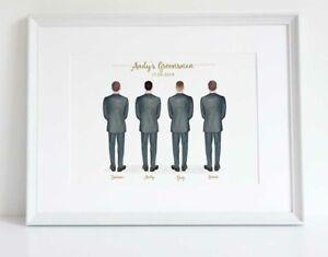 Groomsmen Groom Best Man Usher Personalised Wedding Print Keepsake Gift UNFRAMED