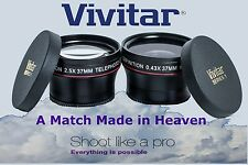 2-Pc LENS KIT HD WIDE ANGLE & 2.2x TELEPHOTO LENS SET FOR CANON VIXIA HF R200